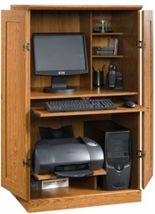 Orchard Hills Computer Armoire Carolina Oak - Sauder Furniture - 401314