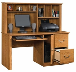 Orchard Hills Computer Desk with Hutch Carolina Oak - Sauder Furniture - 401354