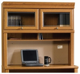 Orchard Hills Hutch with Glass Doors For 401806 Desk Carolina Oak - Sauder Furniture - 402246