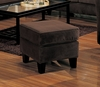 Ottoman in Bella Velvet in Chocolate Fabric - Coaster