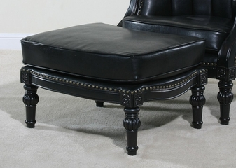 Ottoman in Black Faux Leather - Lawrence - Ultimate Accents - LAWR-OTT-434