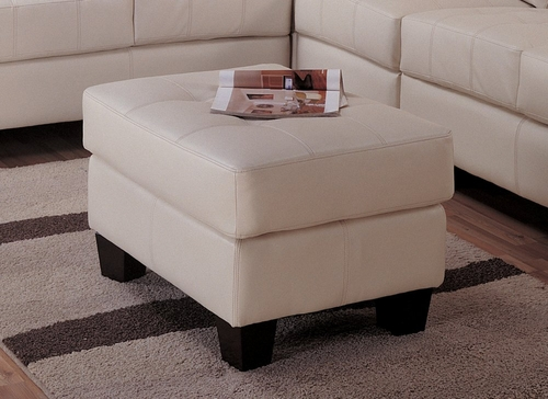 Ottoman in Cream Leather - Coaster