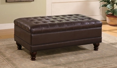 Ottoman in Dark Brown Leather-like Vinyl - Coaster