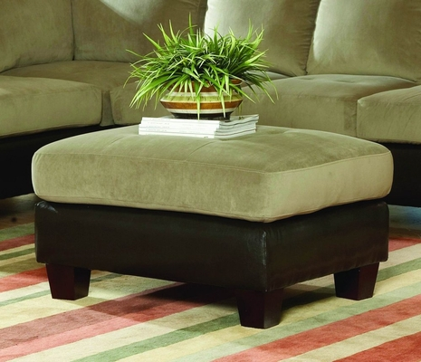 Ottoman in Herbal Bella Microfiber / Bi-cast Vinyl - 9838HB-4