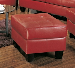 Ottoman in Red Leather - Coaster