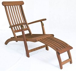 Outdoor Chaise Lounge - Arpoador Steamer - Eucalyptus Wood - Wood Finish - INT-BT-392