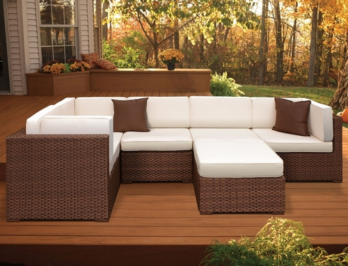 Outdoor Patio Set - Bellagio Sectional 6-Piece Set Off-white - PLI-BELL6OW