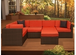 Outdoor Patio Set - Bellagio Sectional 6-Piece Set Orange - PLI-BELL6OR