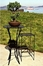 Outdoor Patio Set - Folding Iron Bar Table and Stool Set - Black - Pangaea Home and Garden Furniture - FM-SET-4