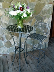 Outdoor Patio Set - Folding Iron Bar Table and Stool Set - Pewter - Pangaea Home and Garden Furniture - FM-SET-3