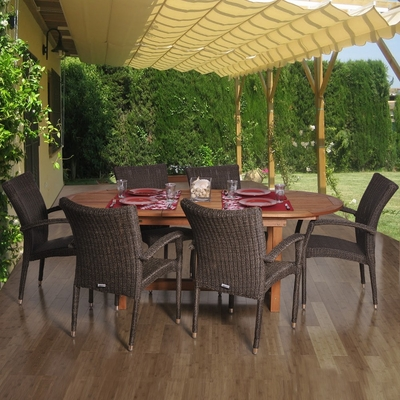 Outdoor Patio Set - Le Mans 7-Piece Dining Set Deluxe - BT-LEMANS-DELUXE