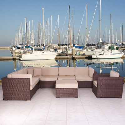 Outdoor Patio Set - Marseille Sectional 8-Piece Set Deluxe - PLI-MARSSET-SBG