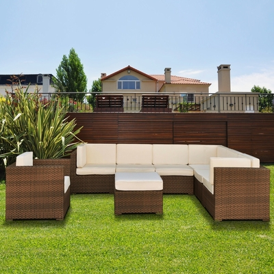 Outdoor Patio Set - Marseille Sectional 8-Piece Set Off-White - PLI-MARSEOW