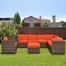 Outdoor Patio Set - Marseille Sectional 8-Piece Set Orange - PLI-MARSEOR