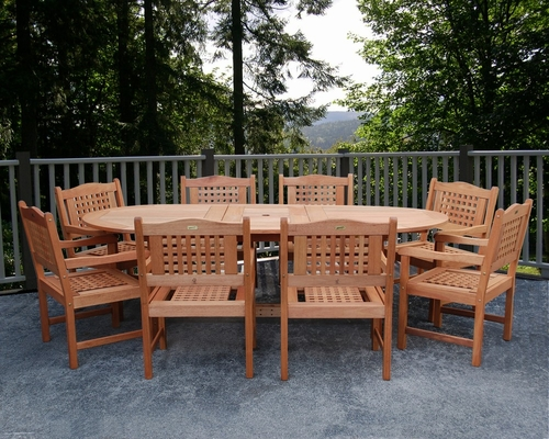 Outdoor Patio Set - Milano Grand Extendable Table 9-Piece Set Porto - BT-GRAND-EXT-PORTO