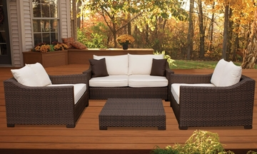 Outdoor Patio Set - Oxford Deep Seating 4-Piece Set Off-white - PLI-OXFSET-OW