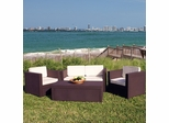Outdoor Patio Set - Rimini PVC Wicker Style 4-Piece Set Brown - PLI-RIMINI-BROWN