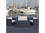 Outdoor Patio Set - Rimini PVC Wicker Style 4-Piece Set Grey - PLI-RIMINI-GREY
