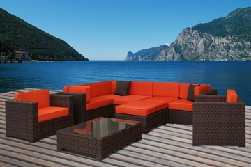 Outdoor Patio Set - Southampton Sectional 9-Piece Set Orange - PLI-BELLPREOR