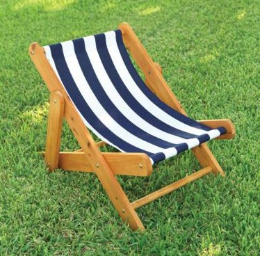 Outdoor Sling Chair with Navy Stripe Fabric - KidKraft Furniture - 00102