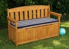 Outdoor Storage Bench with Navy Stripe Cushion - KidKraft Furniture - 00108