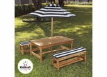 Outdoor Table and Chair Set with Cushions and Navy Stripes - KidKraft Furniture - 00106