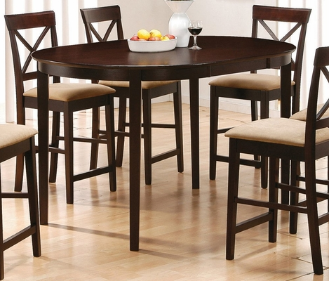 Oval Counter Height Table in Rich Cappuccino - Coaster