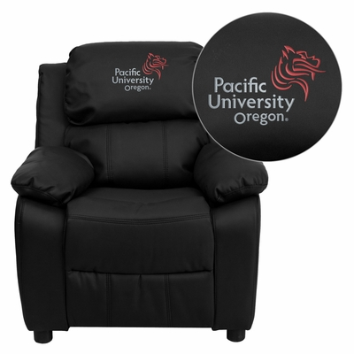 Pacific University Oregon Boxers Black Leather Kids Recliner - BT-7985-KID-BK-LEA-41059-EMB-GG