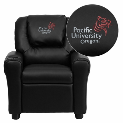 Pacific University Oregon Boxers Embroidered Black Vinyl Kids Recliner - DG-ULT-KID-BK-41059-EMB-GG