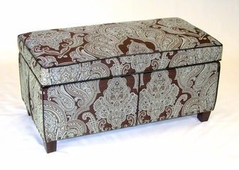 Paisley Storage Bench in Brown with Teal - 4D Concepts - 77630