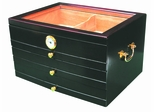 Palermo Cigar Humidor with Glass Top - HUM-3DR