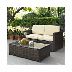 Palm Harbor 2 Piece Outdoor Wicker Set - Loveseat and Glass Top Table - CROSLEY-KO70002BR