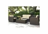 Palm Harbor 4 Piece Outdoor Wicker Set - Loveseat, Two Chairs and Glass Top Table - CROSLEY-KO70001BR