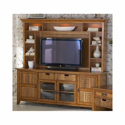 Palm Isle HDTV Console Base and Hutch Antique Honey and Abaca Weave - Largo - LARGO-WG-HD1650B-HD1650T