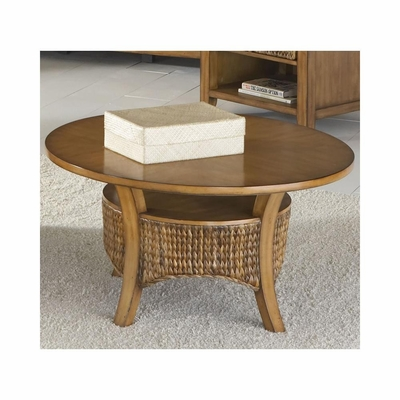 Palm Isle Round Cocktail Table Antique Honey and Abaca Weave - Largo - LARGO-ST-T1650-112B-112T