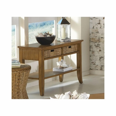 Palm Isle Sofa Table with Baskets Antique Honey and Abaca Weave - Largo - LARGO-ST-T1650-131