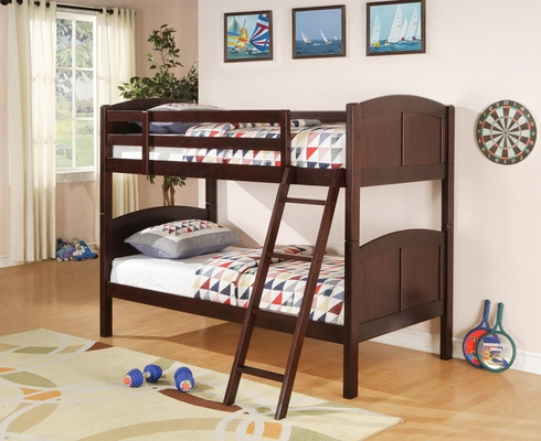 Parker Twin Slat Bunk Bed in Brown Cherry - 460213