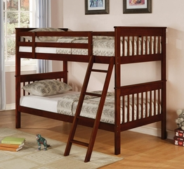 Parker Twin Slat Bunk Bed in Brown Cherry - 460231