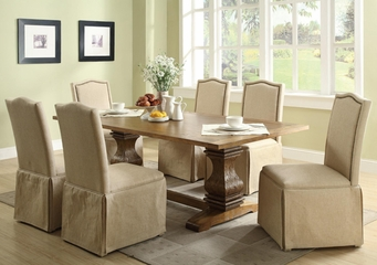 Parkins 7PC Dining Table and Parson Skirted Chair Set - 103711