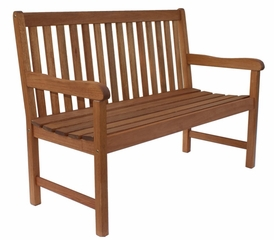 Patio Outdoor Bench - Milano Bench 4 Feet - Eucalyptus Wood - Wood Finish - INT-BT-363