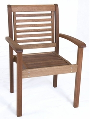 Patio Outdoor Chair - Stackable Chair - Eucalyptus Wood - Wood Finish - INT-BT-421-1