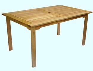 Patio Outdoor Table - Milano Rectangular Table - Eucalyptus Wood - Wood Finish - INT-BT-361