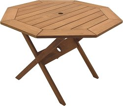 Patio Outdoor Table - Octogonal Folding Table - Eucalyptus Wood - Wood Finish - INT-BT-313