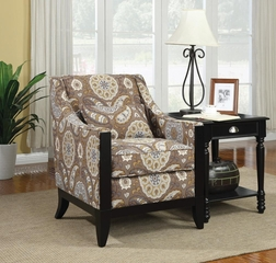 Patterned Accent Chair with Slightly Leaned Back - 902091