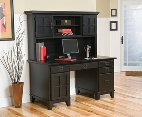 Pedestal Desk and Hutch in Ebony - Arts and Crafts - 5181-184