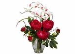 Peony and Orchid Silk Flower Arrangement - Nearly Natural - 1175-RD