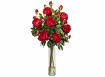 Peony with Cylinder Silk Flower Arrangement - Nearly Natural - 1230-RD