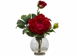 Peony with Fluted Vase Silk Flower Arrangement - Nearly Natural - 1278-RD