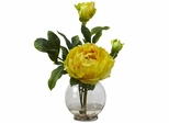 Peony with Fluted Vase Silk Flower Arrangement - Nearly Natural - 1278-YL