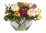 Peony with Glass Vase Silk Flower Arrangement in Mixed - Nearly Natural - 4668